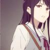 laceblade: Mitsuki of Kyoukai no Kanata anime, in school uniform, looking at viewer, uneasy (K-On: Azusa + flower)