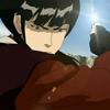 eruthros: Mai from Avatar: TLA mid-fight, with sunlight glinting off her shuriken (Avatar - mai kicks ass)